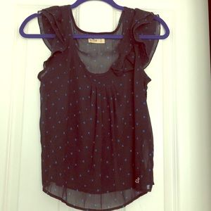 Sheer Navy Blue Top with side bow